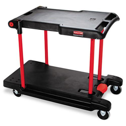 Rubbermaid Convertible Utility Cart, Two-Shelf, 23 7/8w x 45 1/8d x 34 3/8h, Black (RCP 4300 BLA)