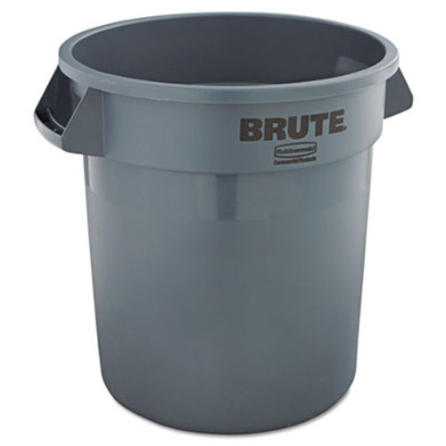 Rubbermaid Round Brute Container, Plastic, 10 gal, Gray (RCP 2610 GRA)