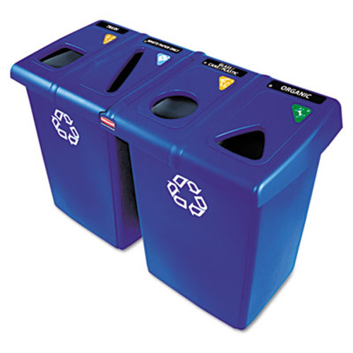 Rubbermaid Glutton Recycling Station, Four-Stream, 92 gal, Blue (RCP 1792372)