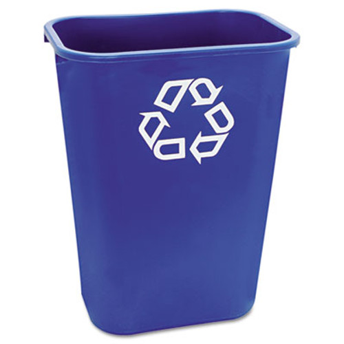 Rubbermaid Large Deskside Recycle Container w/Symbol, Rectangular, Plastic, 41.25qt, Blue (RCP 2957-73 BLU)