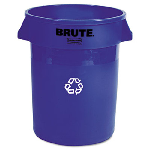 Rubbermaid Brute Recycling Container, Round, 32 gal, Blue (RCP 2632-73 BLU)