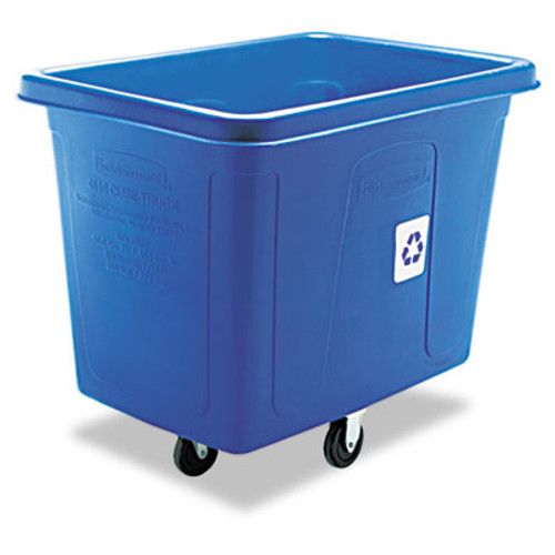 Rubbermaid Recycling Cube Truck, Rectangular, Polyethylene, 500lb Cap, Blue (RCP 4616-73 BLU)