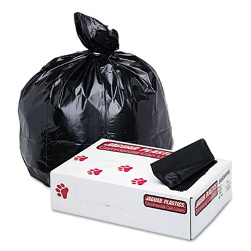 Jaguar Plastics Low-Density Commercial Can Liner, 60gal, 1.7mil, 38 x 58, Black, 100/Carton (JAG G3858HBL)