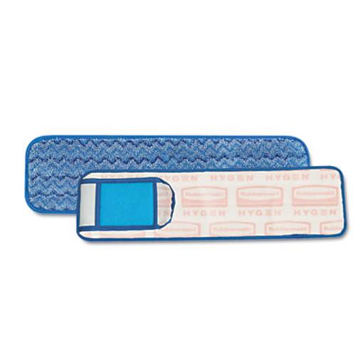 "Rubbermaid HYGEN Wet Pad w/Scrubber, Nylon/Polyester Microfiber, 18"" Long, Blue (RCP Q415)"