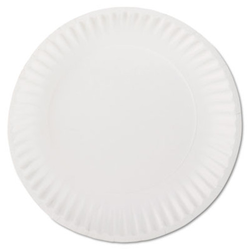"AJM Packaging Corporation White Paper Plates, 9"" Diameter, 100/Bag, 10 Bags/Carton (AJMPP9GREWH)"