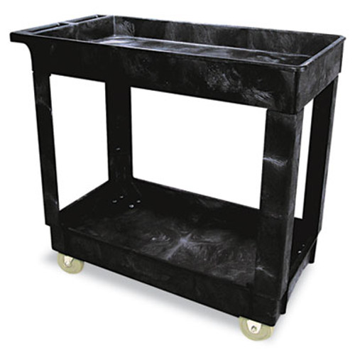 Rubbermaid Commercial Service/Utility Cart, Two-Shelf, 17w x 38d x 31h, Black (RCP 9T66 BLA)