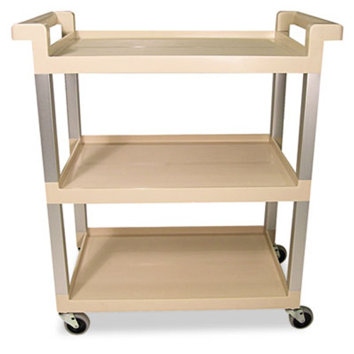 Rubbermaid Commercial Three-Shelf Service Cart w/Brushed Aluminum Upright, 16-1/4 x 31-1/2 x 36, Beige (RCP 9T65-71 BEI)