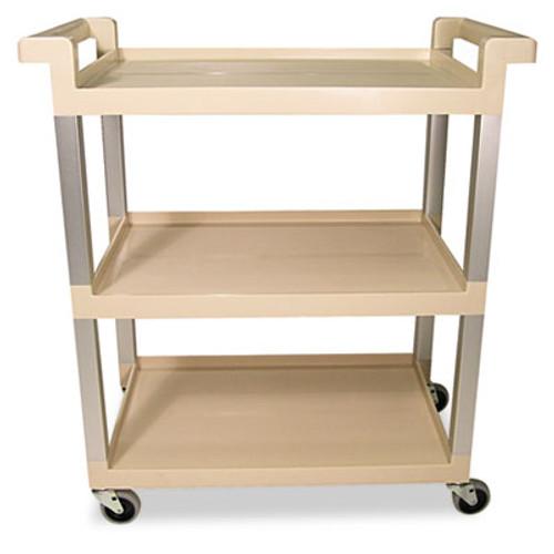 Rubbermaid Three-Shelf Service Cart w/Brushed Aluminum Upright, 16-1/4 x 31-1/2 x 36, Beige (RCP 9T65-71 BEI)