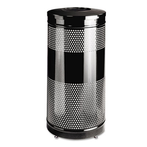 Rubbermaid Classics Perforated Open Top Receptacle, Round, Steel, 25gal, Black (RCP S3ETBKPL)