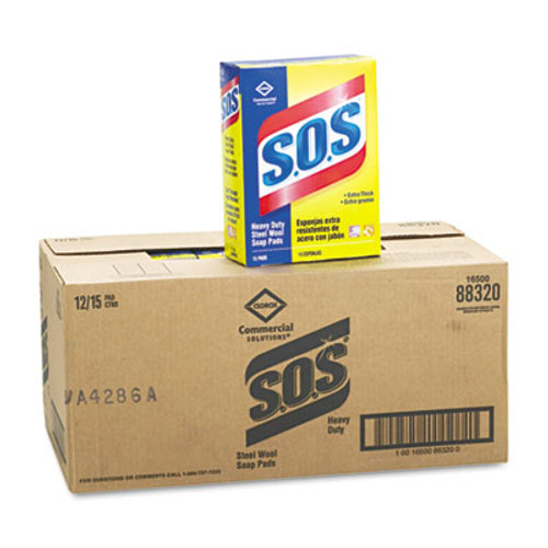 S.O.S. Steel Wool Soap Pad, 15 Pads/Box (CLO 88320)