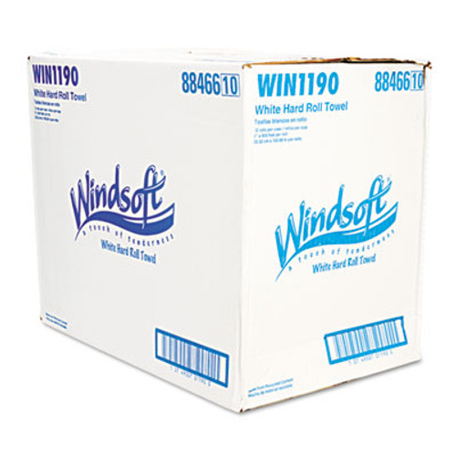 Windsoft Nonperforated Paper Towel Roll, 8 x 600ft, White, 12 Rolls/Carton (WIN 1190)