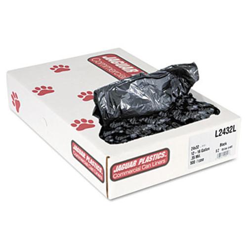 Jaguar Plastics Low-Density Can Liners, 12-16 Gallon, .35mil, Black, 500/Carton (JAG L2432L)