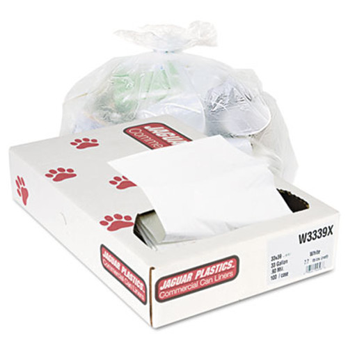 Jaguar Plastics Industrial Strength Commercial Can Liners, 33gal, .9mil, White, 100/Carton (JAG W3339X)