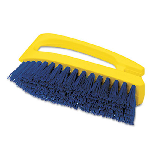 "Rubbermaid Commercial Long Handle Scrub Brush, 6"" Brush, Yellow Plastic Handle/Blue Bristles (RCP 6482 COB)"