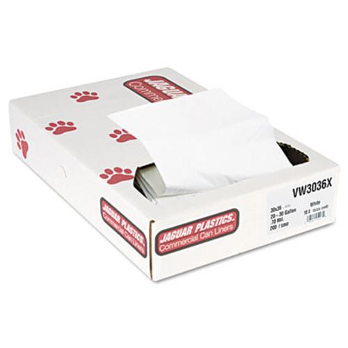 Jaguar Plastics Industrial Strength Commercial Can Liners, 20-30gal, .7mil, White, 200/Carton (JAG VW3036X)