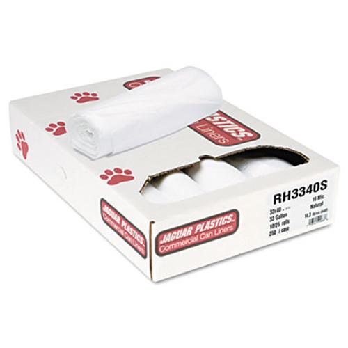 Jaguar Plastics Super Extra-Heavy Bags, 33gal, 16mic, 33 x 40, Natural, 25 Bags/RL, 10 Rolls/CT (JAG RH3340S)