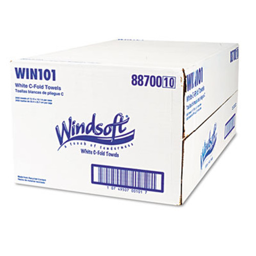 Windsoft Embossed C-Fold Paper Towels, 10 1/10 x 13 1/5, White, 200/Pack, 12 Packs/Carton (WIN 101)