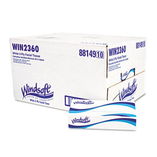 Windsoft Facial Tissue in Pop-Up Box, 100/Box, 30 Boxes/Carton (WIN 2360)
