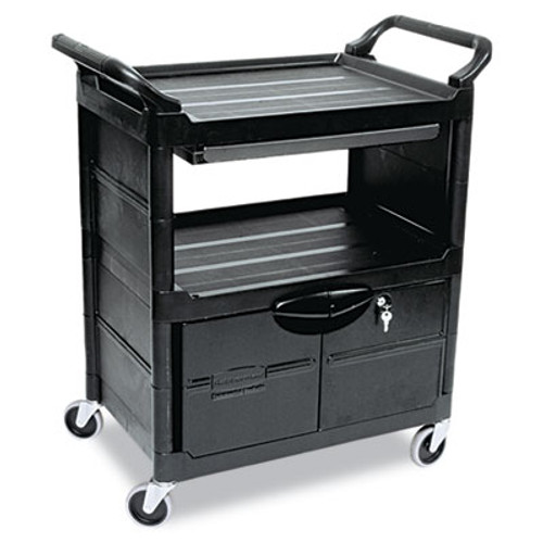 Rubbermaid Utility Cart With Locking Doors, Two-Shelf, 33-5/8w x 18-5/8d x 37-3/4h, Black (RCP 3457 BLA)