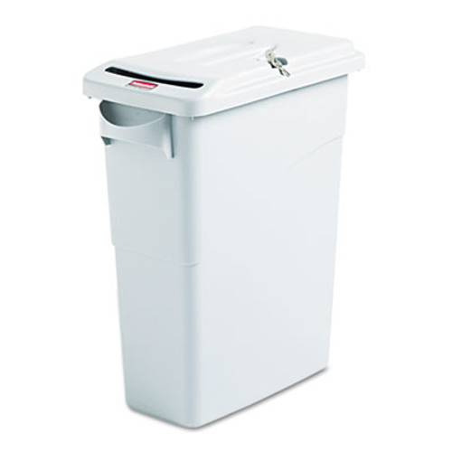 Rubbermaid Slim Jim Confidential Document Receptacle w/Lid, Rectangle, 15.875gal, Lt Gray (RCP 9W25 GRA)