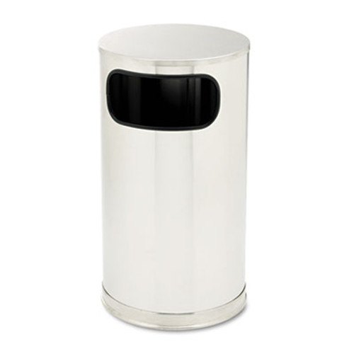 Rubbermaid European & Metallic Side-Opening Receptacle, Round, 12 gal, Satin Stainless (RCP SO16SSSGL)