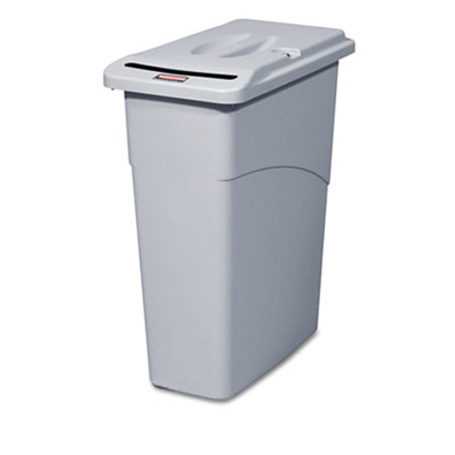Rubbermaid Slim Jim Confidential Document Receptacle w/Lid, Rectangle, 23gal, Light Gray (RCP 9W15 GRA)