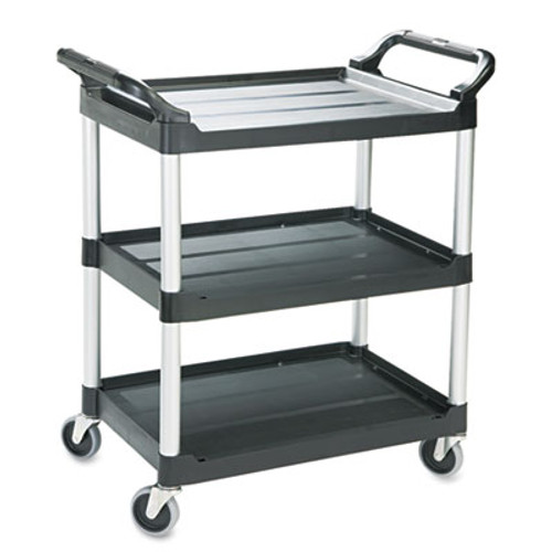 Rubbermaid Economy Plastic Cart, Three-Shelf, 18-5/8w x 33-5/8d x 37-3/4h, Black (RCP 3424-88 BLA)