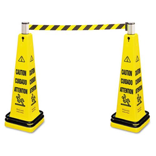 Rubbermaid Portable Barricade System, Plastic, 12 1/4 x 12 1/4 x 39 3/4, Yellow (RCP 6287 YEL)