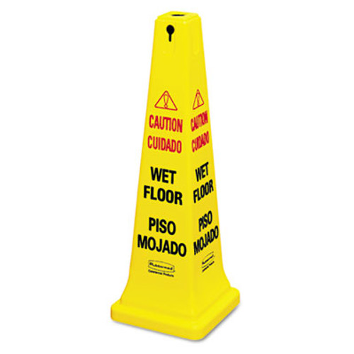 Rubbermaid Four-Sided Caution, Wet Floor Yellow Safety Cone, 12 1/4 x 12 1/4 x 36h (RCP 6276-77 YEL)