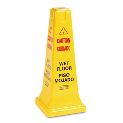 Rubbermaid Four-Sided Caution, Wet Floor Safety Cone, 10 1/2w x 10 1/2d x 25 5/8h, Yellow (RCP 6277-77 YEL)
