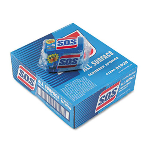 """S.O.S. All Surface Scrubber Sponge, 2 1/2 x 4 1/2, 0.9"""" Thick, Blue, 3/Pack, 8 Packs/CT (CLO 91028)"""