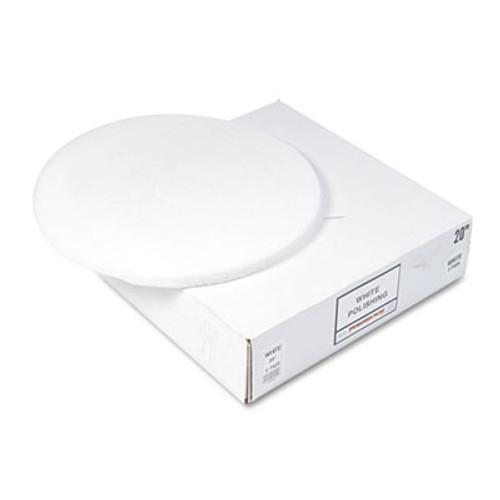 "Boardwalk Standard Floor Pads, 20"" Diameter, White, 5/Carton (PAD 4020 WHI)"