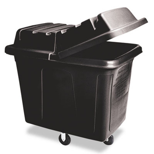 Rubbermaid Metal Frame Cube Truck, Rectangular, Polyethylene, 400lb Cap, 12 cu. ft., Black (RCP 4612 BLA)