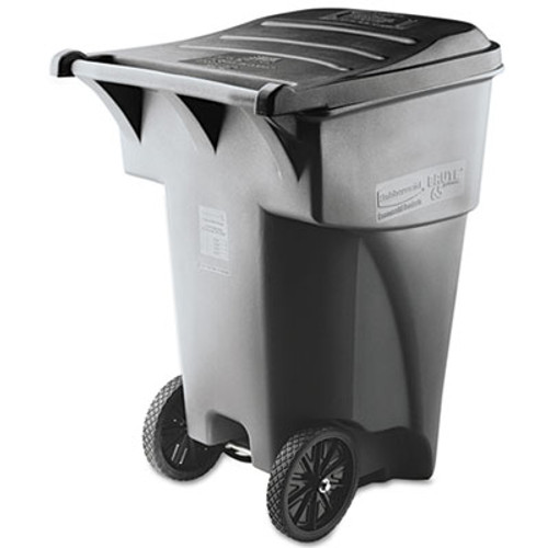 Rubbermaid Brute Rollout Heavy-Duty Waste Container, Square, Polyethylene, 95gal, Gray (RCP 9W22 GRA)