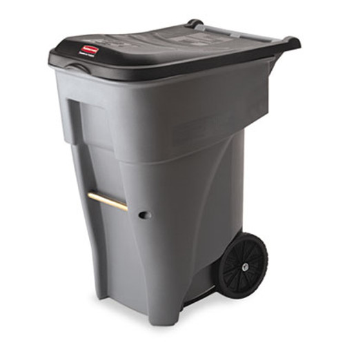 Rubbermaid Brute Rollout Heavy-Duty Waste Container, Square, Polyethylene, 65gal, Gray (RCP 9W21 GRA)