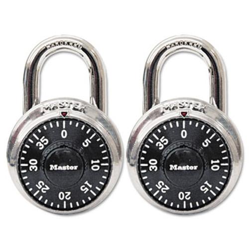 "Master Lock Combination Lock, Stainless Steel, 1 7/8"" Wide, Black Dial, 2/Pack (MLK1500T)"