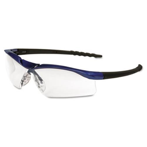 Crews Dallas Wraparound Safety Glasses, Metallic Blue Frame, Clear AntiFog Lens (MCR DL310AF)