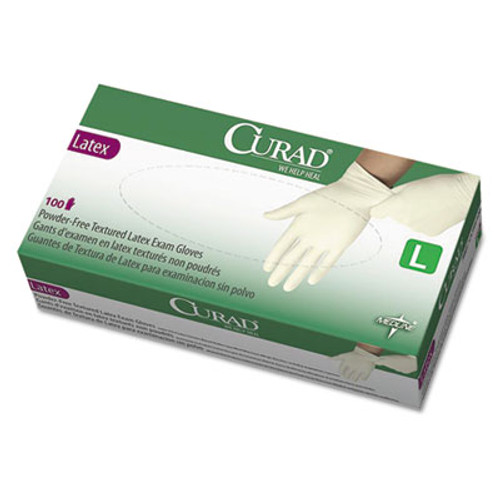 Curad Latex Exam Gloves, Powder-Free, Large, 100/Box (MIICUR8106)