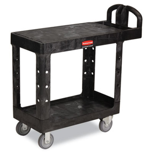 Rubbermaid Flat Shelf Utility Cart, Two-Shelf, 19-3/16w x 37-7/8d x 33-1/3h, Black (RCP 4505 BLA)