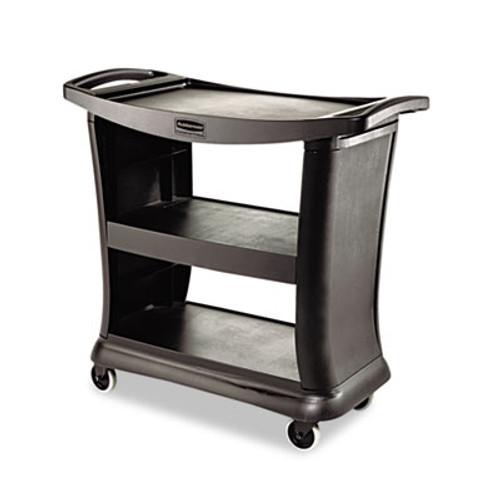 Rubbermaid Executive Service Cart, Three-Shelf, 20-1/3w x 38-9/10d, Black (RCP 9T68 BLA)