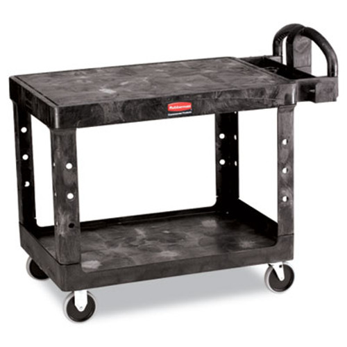 Rubbermaid Flat Shelf Utility Cart, Two-Shelf, 25-1/4w x 44d x 38-1/8h, Black (RCP 4525 BLA)