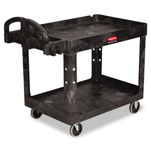 Rubbermaid Heavy-Duty Utility Cart, Two-Shelf, 25 9/10w x 45 1/5d x 32 1/5h, Black (RCP 4520-88 BLA)