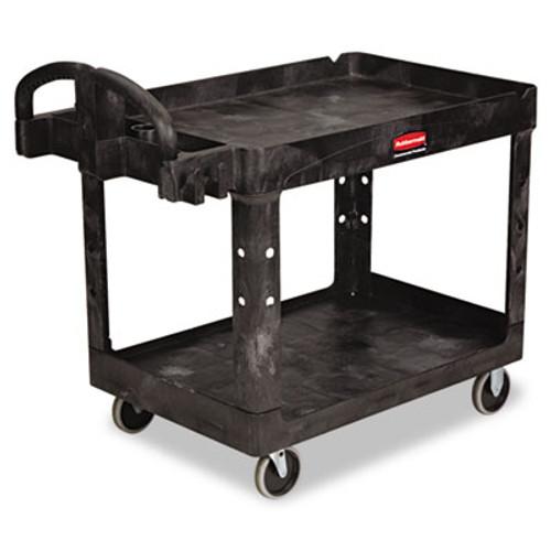 Rubbermaid Heavy-Duty Utility Cart, Two-Shelf, 25 9/10w x 45 1/5d x 32 1/5h, Black (RCP 4520-88 BLA)
