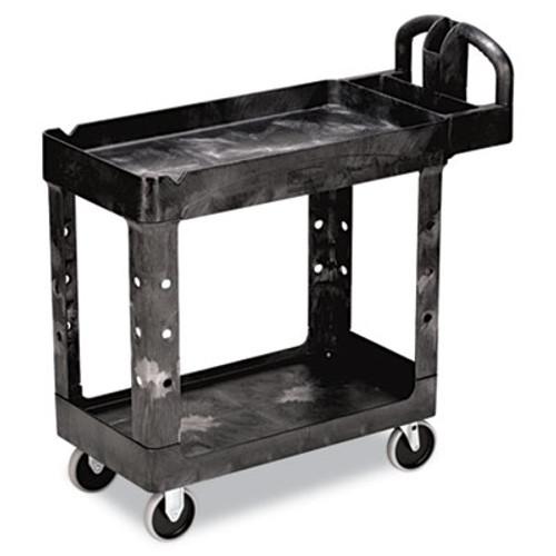 Rubbermaid Heavy-Duty Utility Cart, Two-Shelf, 17-1/8w x 38-1/2d x 38-7/8h, Black (RCP 4500-88 BLA)