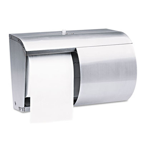 Kimberly-Clark Professional* Coreless Double Roll Tissue Dispenser, 7 1/10 x 10 1/10 x 6 2/5, Stainless Steel (KCC 09606)