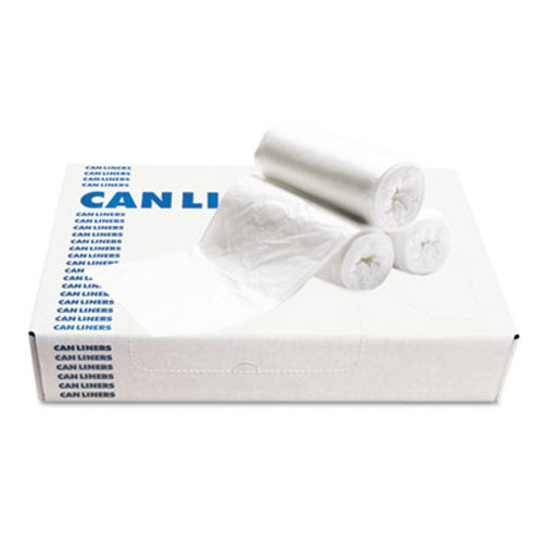 Boardwalk Waste Can Liners, 60gal, 38x 58, .6mil, White, 25 Bags/Roll, 4 Rolls/CT (BWK 3858EXH)