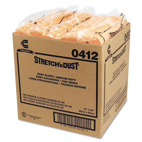 Chix Stretch 'n Dust Cloths, 11 5/8 x 24, Yellow, 40 Cloths/Pack, 10 Packs/Carton (CHI 0412)