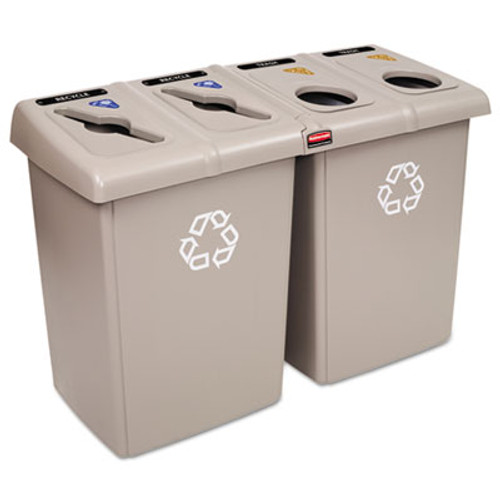 Rubbermaid Glutton Recycling Station, Four-Stream, 92 gal, Beige (RCP 1792374)
