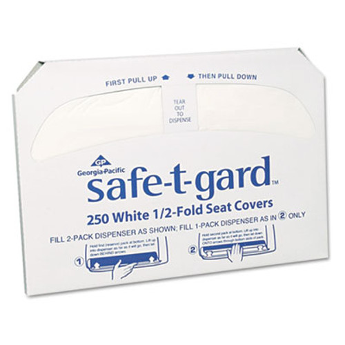 Georgia Pacific Half-Fold Toilet Seat Covers, White, 250/Pack, 20 Boxes/Carton (GPC 470-46)