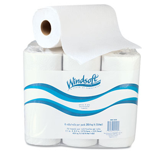 "Windsoft Paper Towel Roll, 11"" x 8 4/5"", White, 72/Roll, 6 Rolls/Pack (WIN 2420)"